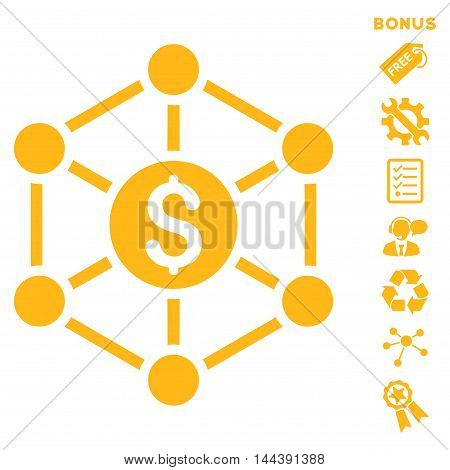 Financial Radial Scheme icon with bonus pictograms. Vector illustration style is flat iconic symbols, yellow color, white background, rounded angles.
