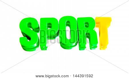 word sport from plastic letters on a white background