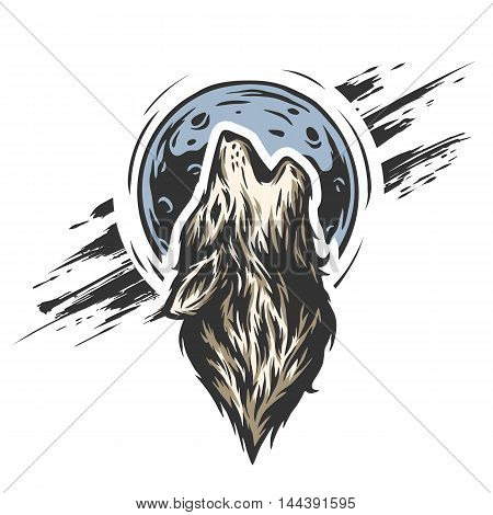 The head of a wolf on the moon background in grunge style.