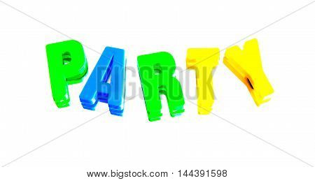 word party from plastic letters on a white background