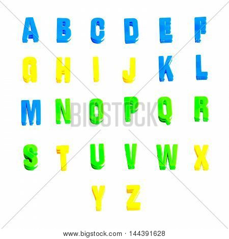 alphabet of plastic letters isolated on white background
