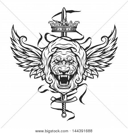 Vintage symbol of a lion head, a crown, sword and wings. Emblem, t-shirt graphic.