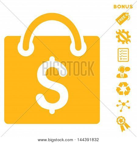 Shopping Bag icon with bonus pictograms. Vector illustration style is flat iconic symbols, yellow color, white background, rounded angles.