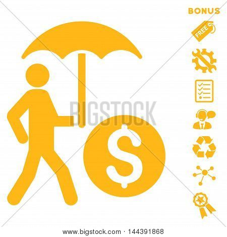 Walking Banker With Umbrella icon with bonus pictograms. Vector illustration style is flat iconic symbols, yellow color, white background, rounded angles.