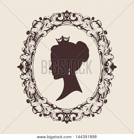 Vector profile silhouette of a princess in a frame.