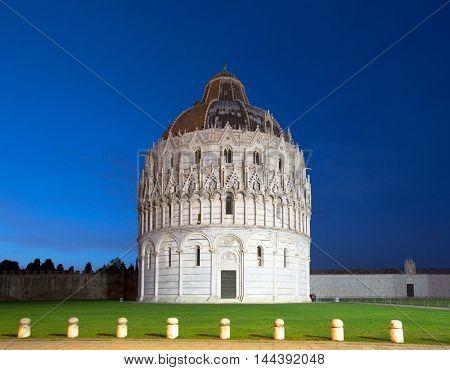 The Pisa Baptistry of St. John at night, Campo dei Miracoli, Pisa, Italy, Europe