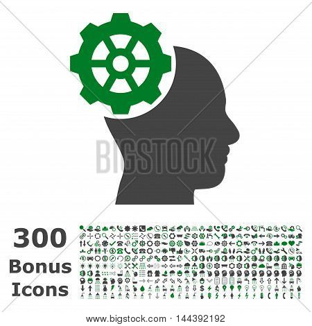 Head Gear icon with 300 bonus icons. Vector illustration style is flat iconic bicolor symbols, green and gray colors, white background.