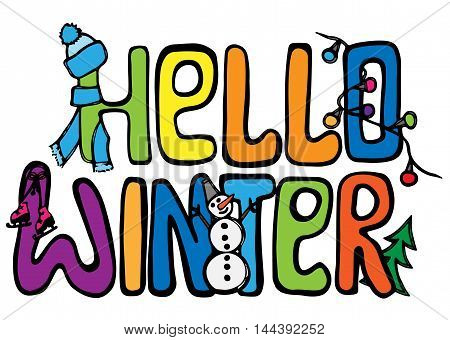 Hello winter multicolor card lettering isolated on the white background