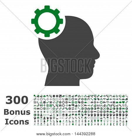 Intellect Gear icon with 300 bonus icons. Vector illustration style is flat iconic bicolor symbols, green and gray colors, white background.