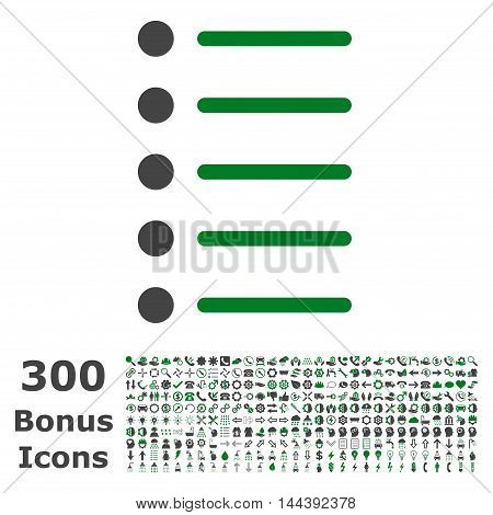 Items icon with 300 bonus icons. Vector illustration style is flat iconic bicolor symbols, green and gray colors, white background.