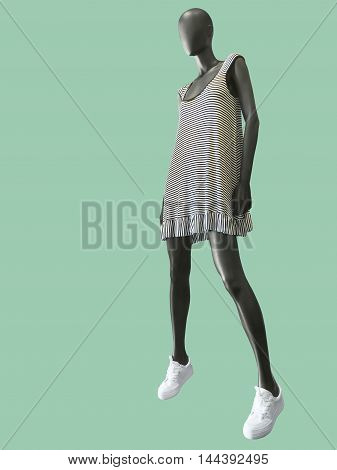 Full-length female mannequin dressed in white stripped dress isolated on green background. No brand names or copyright objects.
