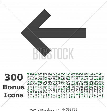 Left Arrow icon with 300 bonus icons. Vector illustration style is flat iconic bicolor symbols, green and gray colors, white background.