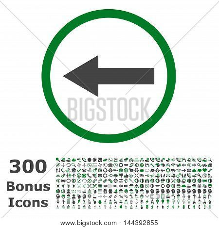 Left Rounded Arrow icon with 300 bonus icons. Vector illustration style is flat iconic bicolor symbols, green and gray colors, white background.