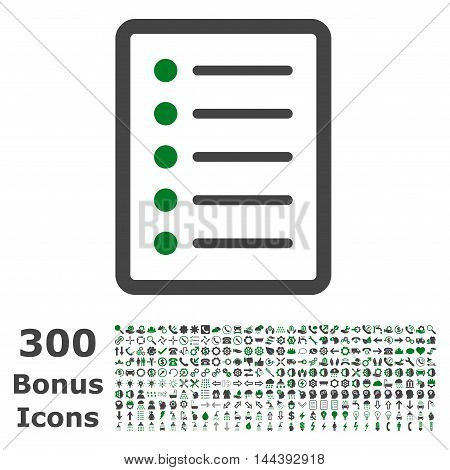 List Page icon with 300 bonus icons. Vector illustration style is flat iconic bicolor symbols, green and gray colors, white background.