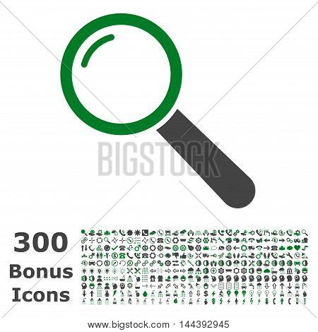 Magnifier icon with 300 bonus icons. Vector illustration style is flat iconic bicolor symbols, green and gray colors, white background.