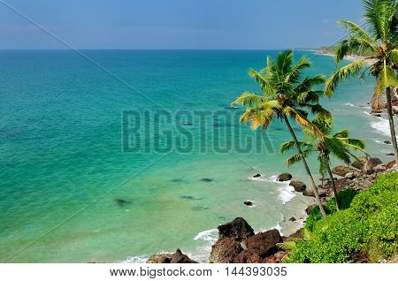 Exotic ocena beach in Varkala. Kerala. India