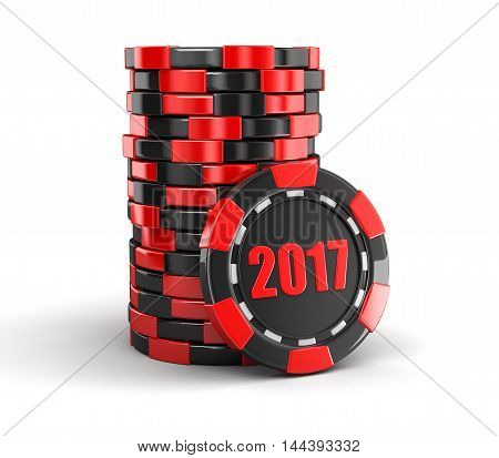 3D Illustration. chip of casino 2017. Image with clipping path