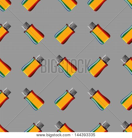 Memory Stick Seamless Pattern on Grey. Flash Computer Device