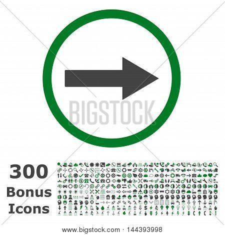 Right Rounded Arrow icon with 300 bonus icons. Vector illustration style is flat iconic bicolor symbols, green and gray colors, white background.