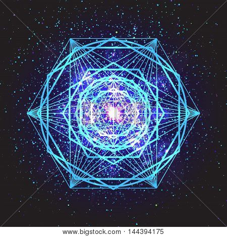 Magic blue geometry sign. Abstract sacred geometry. Religion spirituality occultism. Alchemy mystical symbol on space background. Vector design illustration.