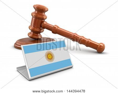 3D Illustration. 3d wooden mallet and Argentina flag. Image with clipping path