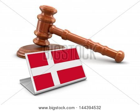 3D Illustration. 3d wooden mallet and Danish flag. Image with clipping path