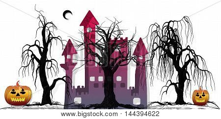 fantasy ticket halloween  with castle and pumpkins and tree