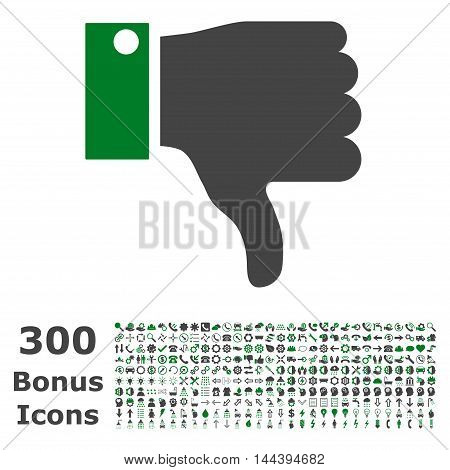 Thumb Down icon with 300 bonus icons. Vector illustration style is flat iconic bicolor symbols, green and gray colors, white background.
