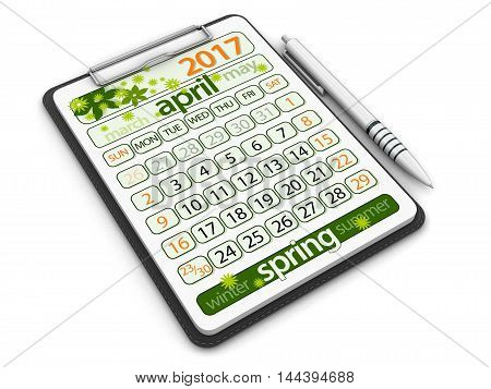 3D Illustration. Clipboard with april 2017. Image with clipping path