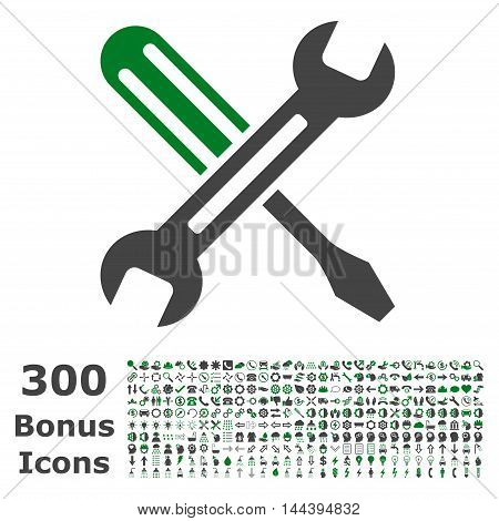 Tuning icon with 300 bonus icons. Vector illustration style is flat iconic bicolor symbols, green and gray colors, white background.