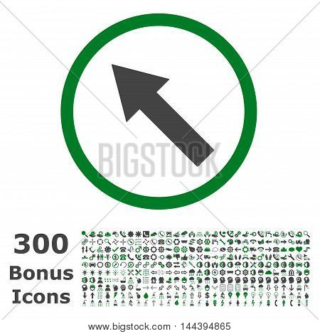 Up-Left Rounded Arrow icon with 300 bonus icons. Vector illustration style is flat iconic bicolor symbols, green and gray colors, white background.