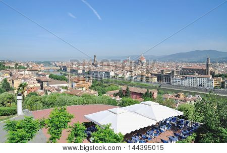 View from Piazzale Michelangelo to Florence in Tuscany, Italy