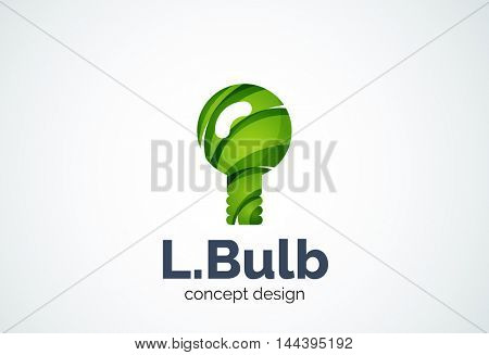 Light bulb logo template, new idea, energy or illumination concept. Modern minimal design logotype created with geometric shapes - circles, overlapping elements