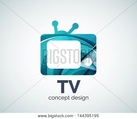 TV logo template, abstract elegant glossy business icon