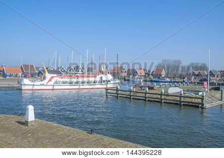 Harbor of Marken at Markermeer in Netherlands,Benelux