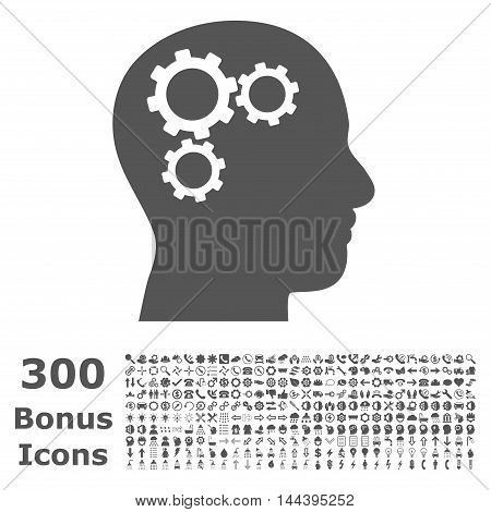 Brain Gears icon with 300 bonus icons. Vector illustration style is flat iconic symbols, gray color, white background.