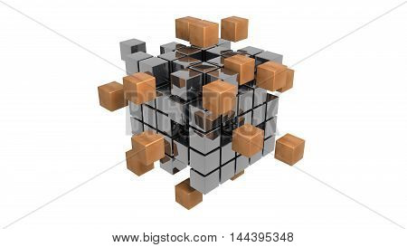 abstract metal cubes 3d illustration isolated on white