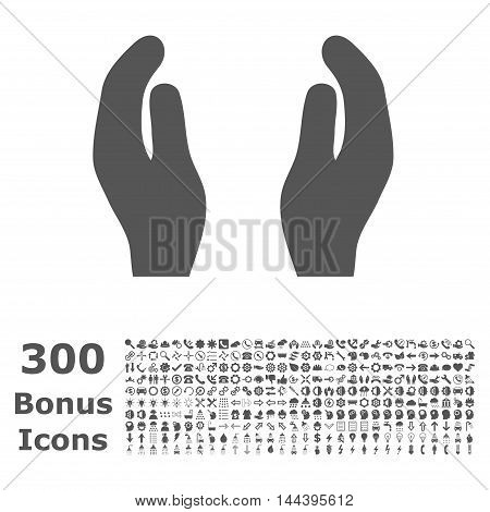 Care Hands icon with 300 bonus icons. Vector illustration style is flat iconic symbols, gray color, white background.