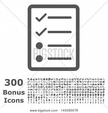 Checklist Page icon with 300 bonus icons. Vector illustration style is flat iconic symbols, gray color, white background.