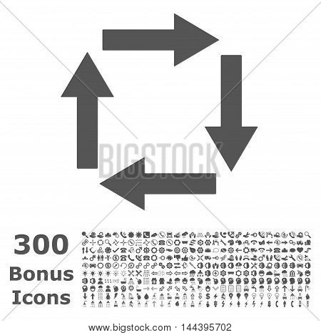 Circulation Arrows icon with 300 bonus icons. Vector illustration style is flat iconic symbols, gray color, white background.