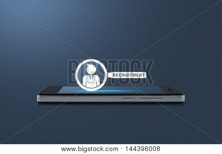 Businessman with magnifying glass icon on modern smart phone screen over light blue background Recruitment concept