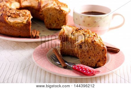 Applesauce coffee cake sliced on plate served