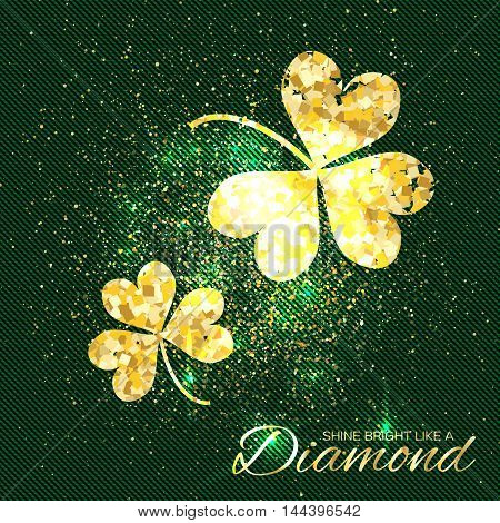 Gold sparkles clover on green background. Two shining glitter glamour flower. Greeting Card with Gold Textured Three Leaf Clover. Patrick Day concept for banner flyer. Vector design illustration.