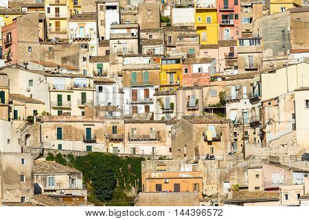 Detailed view of the old town of Ragusa Ibla in Sicily
