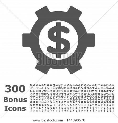 Financial Settings icon with 300 bonus icons. Vector illustration style is flat iconic symbols, gray color, white background.