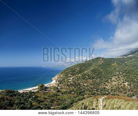 beach and mountains ionian sea coastline view of south albania near sarande