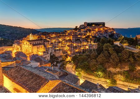 The old town of Ragusa Ibla in Sicily at dusk