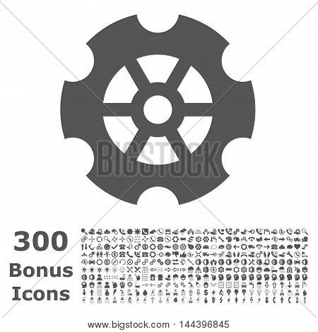 Gear icon with 300 bonus icons. Vector illustration style is flat iconic symbols, gray color, white background.