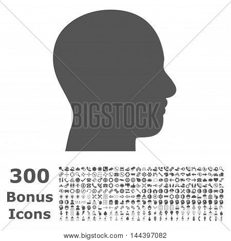 Head Profile icon with 300 bonus icons. Vector illustration style is flat iconic symbols, gray color, white background.