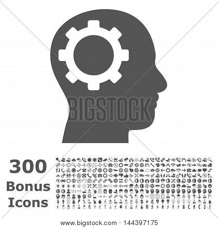 Intellect Gear icon with 300 bonus icons. Vector illustration style is flat iconic symbols, gray color, white background.